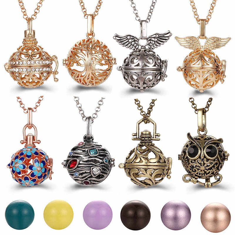 Mexico Chime Tree Of Life Angel Necklace 16MM Music Ball Vintage Pregnancy Necklace Aroma Essential Oil Diffuser Locket Pendant