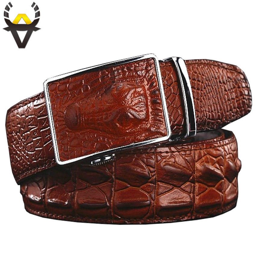 Fashion Genuine Leather Belts For Men Wide Luxury Designer Crocodile Automatic Alloy Buckle Man Belt High Quality Cowskin Strap