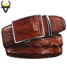 Di modo Genuino cinghie di cuoio per gli uomini di Larghezza di lusso del coccodrillo del progettista della lega automatico fibbia della cintura uomo di Alta qualità della mucca cinturino in pelle di