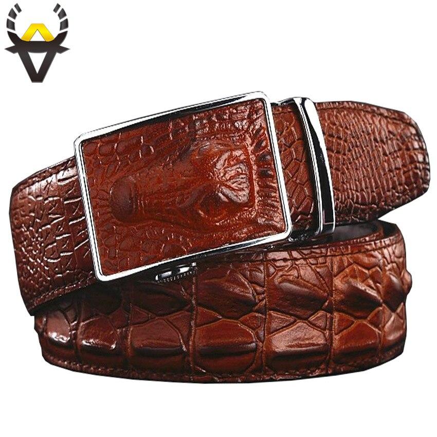 Fashion Genuine Leather Belts For Men Wide Luxury Designer Crocodile Automatic Alloy Buckle Man Belt High Quality Cow Skin Strap