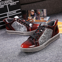 Fashion Men's Casual Shoes British Style Crackle Leather Men Flat Shoes Luxury Thick Heel Lace Up Mens Loafers Shoes