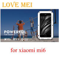 100 Original LOVE MEI Powerful Shockproof Metal Aluminum Case For Xiaomi 6 Mi6 Xiaomi 6 Tempered