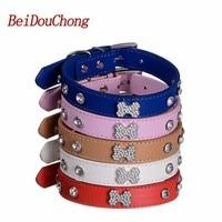 Wholesale 5 Colors Pet Puppy Collar Luxury Diamante Bling Bone Neck Strap PU Leather Adjustable Small Dog Collar