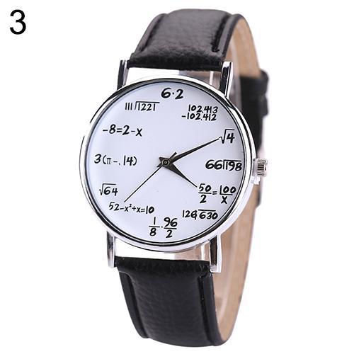 Women Men Fashion Math Formula Equation Dial Faux Leather Quartz Wrist Watch Bracelet
