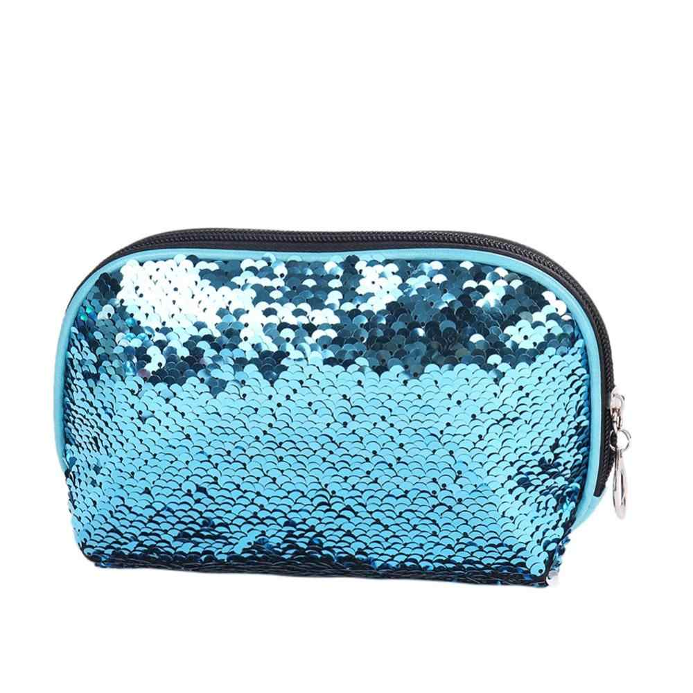 a58a3ac7d8 ... Mermaid Sequin Cosmetic Bag For Women Glitter Handbag Fashion Cute  Evening Clutch Bag Lady Double Color ...