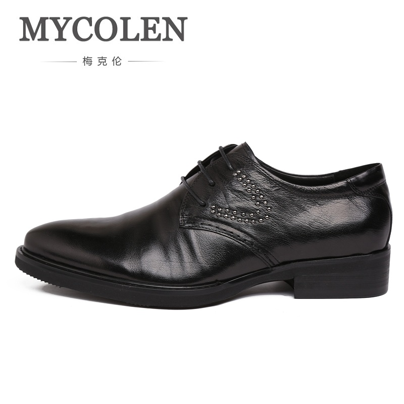 MYCOLEN Luxury Business Men Formal Dress Shoes Pointed Toe Classic Wedding Oxford Genuine Leather Men Flats Shoes Derby Homme