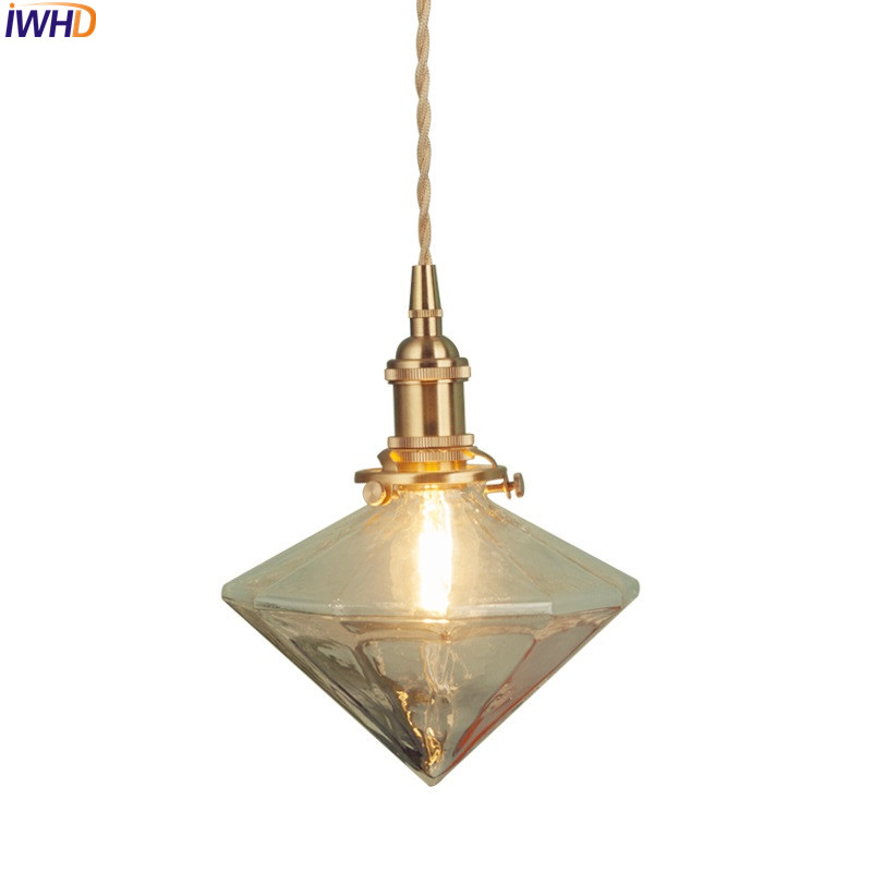 IWHD Nordic Brass LED Pendant Lights Glass Lampshade Retro Loft Hanglamp Suspension Luminaire RH Droplight For Home Lighting iwhd vintage industrial loft led pendant lights nordic retro pendant lamp rh wooden e27 3 droplight fixtures for home lighting