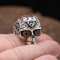 Ring 925 Sterling Silver Men S925 Thai Solid Silver Garnet Rings Skull Men's Fine Jewelry Skeleton Punk Style anillos