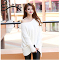 2016 New winter mohair pullovers v-neck bat type loose sweaters women wear coat  A035