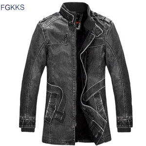 Image 3 - FGKKS Winter Men Leather Suede Jacket Fashion Brand Quality Fleece Lined Motorcycle Faux Leather Coats Male Leather Jackets