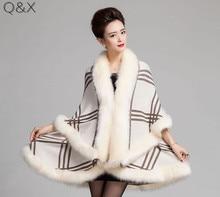 лучшая цена SC98 2018 Winter Warm Long Knitted 2 Layers Poncho Cape Cashmere Plaid Shawl Women Imitation Fur European Cardigan Coat