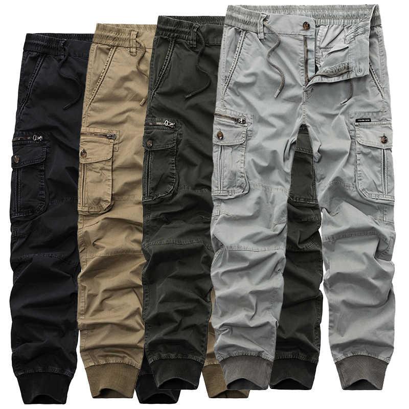 2019 męskie kamuflaż taktyczne spodnie w stylu cargo mężczyźni biegaczy wojskowe Casual bawełniane spodnie Harem Hip Hop wstążka męskie spodnie armii