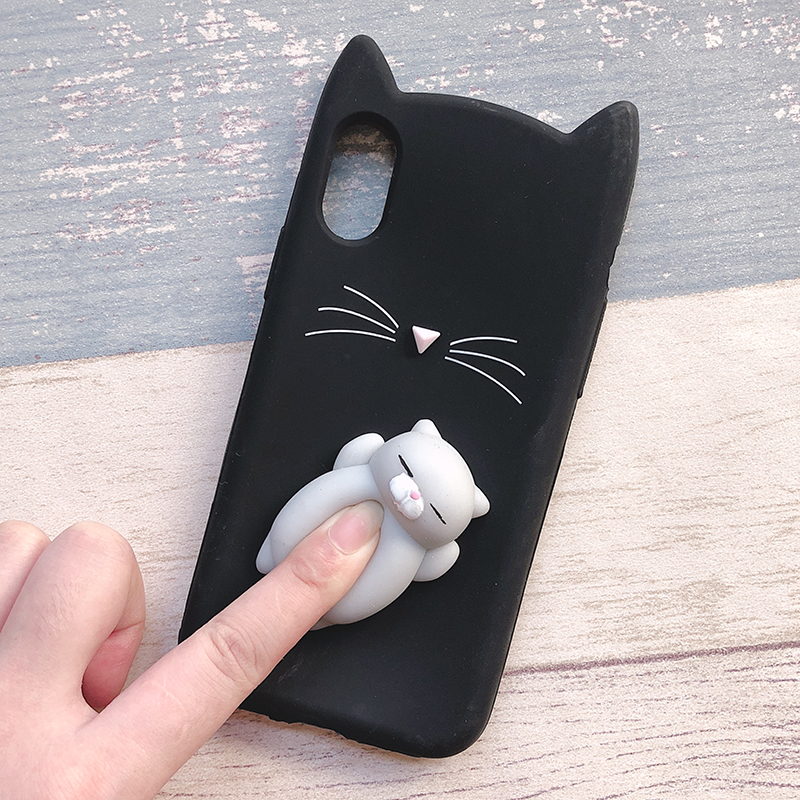 3D Cute Japan Glitter Bearded Cat Case For iphone 5 5S SE X Squishy Cat Cases For iphone 7 8 6 6S Plus Silicone Mobile Phone Bag (14)