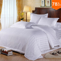 Top 5 stars Hotel smooth glossy quilt cover full 100% cotton white parallel lines 100% cottons bed hotel duvet cover bedding bag