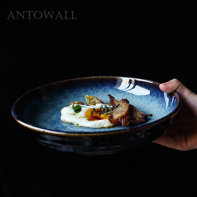ANTOWALL lisse bleu en céramique salade profonde plaque 8.5 pouces grande capacité vaisselle soupe Sauce assiette plat en gros