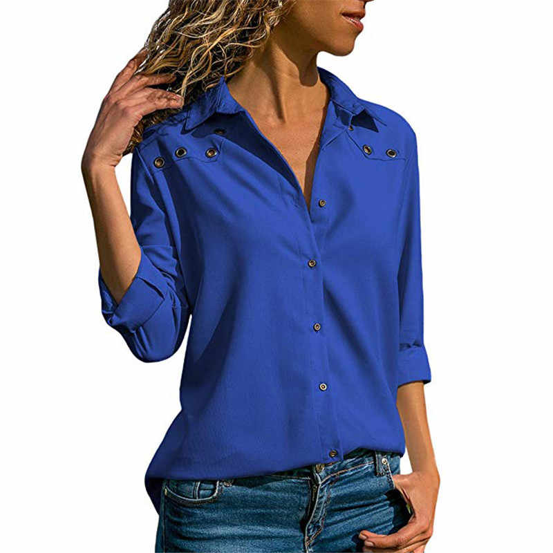 bea62c4720c ... Роги осень Для женщин с длинным рукавом Повседневная Блузка на  пуговицах блузки рубашка элегантные дамы топы ...