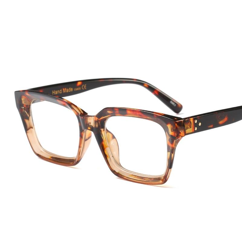 f3319590aba Clear Lens Leopard Temple Rivets Eye Glasses Men Women Full Frame Myopia Eyeglasses  Prescription Eyewear Luxury