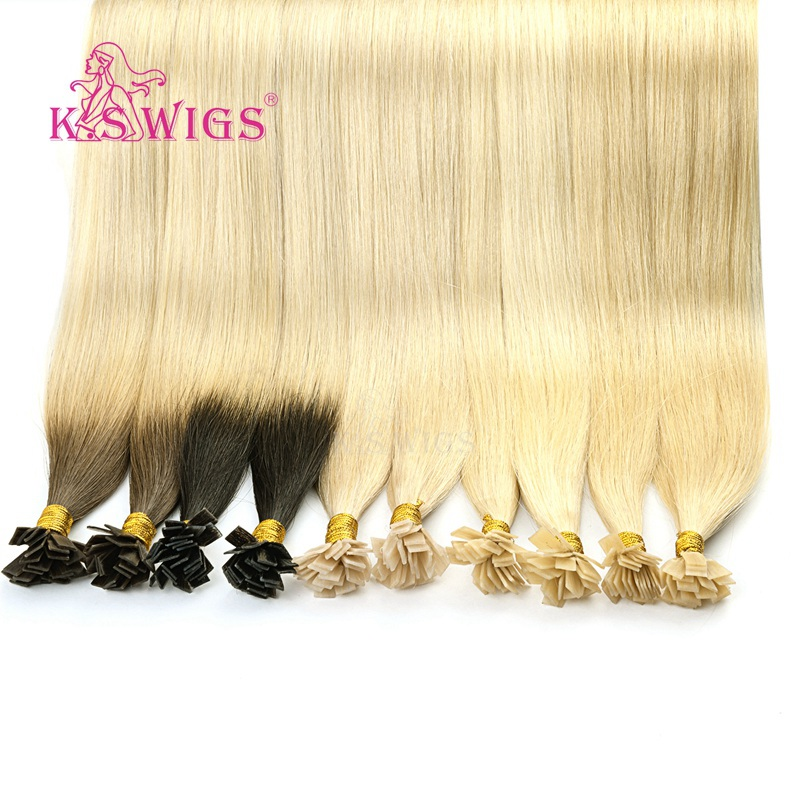 K.S Wigs 24'' 25s Pre Bonded Remy Flat Tip Human Hair Extensions Straight Double Drawn Capsules Keratin Fusion Hair 1g/s