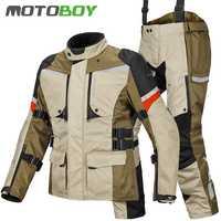 Envío gratis 1set de hombre 600D Oxford impermeable todoterreno a prueba de viento invierno cálido forro chaqueta y pantalones de motocicleta
