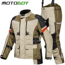Бесплатная доставка 1 компл. мужские 600D Оксфорд непромокаемые внедорожные ветрозащитный для езды зимние теплые подкладка куртка мотоциклетная куртка и брюки