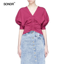 SONDR summer 2019 new female mei purple T-shirt and wearing a v-neck crisscross smoke plait hubble-bubble sleeve cotton Tee цена 2017