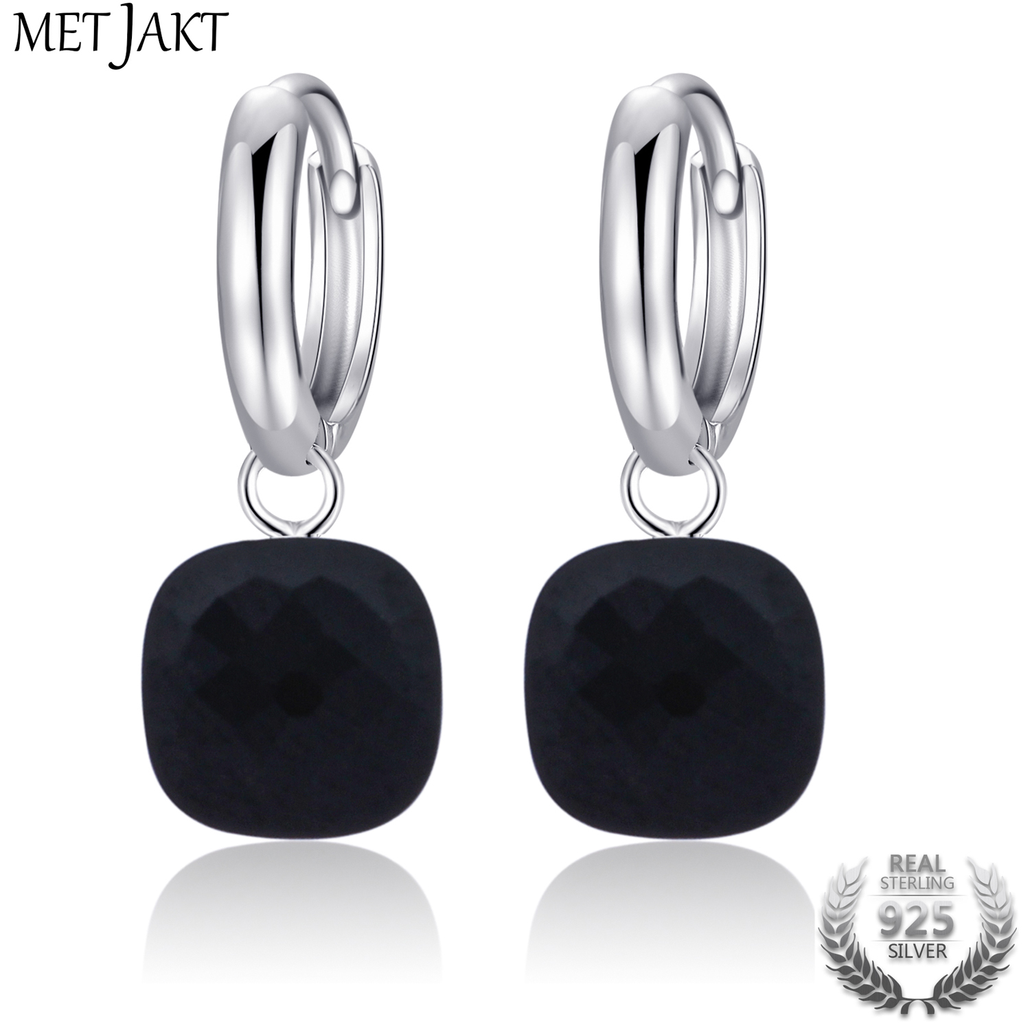 MetJakt Classic Natural Black Agate Earrings Solid 925 Sterling Silver Pendant Earring For Women's Occasions Fine Jewelry