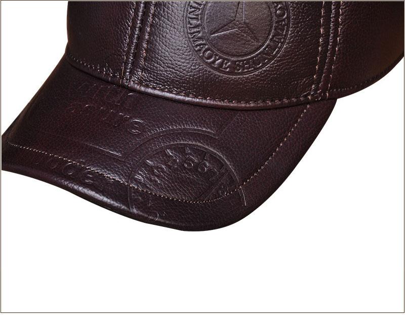 Genuine Leather Embossed Mens Baseball Cap - Brown Brim Detail Close-up