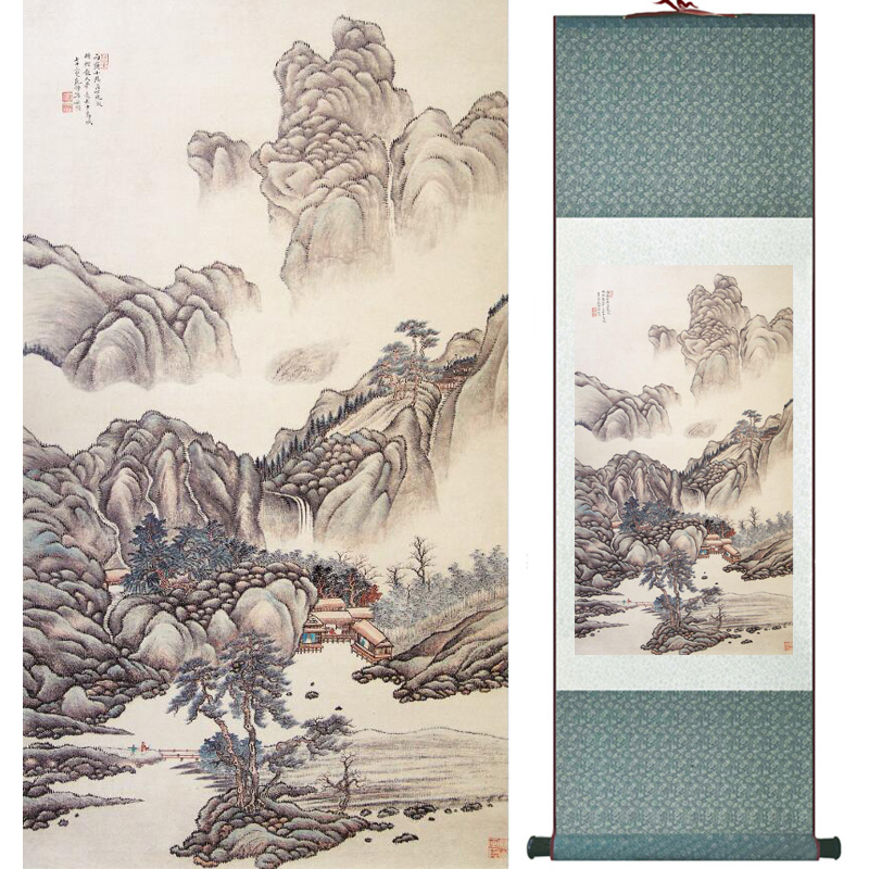 Mountain and river painting Home Office Decoration Chinese scroll painting mountain and River painting LTW2017112507
