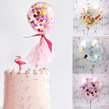 1pc 5inch Confetti Balloon Cake Topper Decoration with Paper Straw Ribbon Table Baby Shower One Birthday