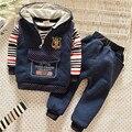 Otoño/Invierno Del Bebé Que Arropan los niños ropa de Abrigo Niños Chicos camisa + chaleco + pantalones Traje de Deporte