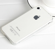 2Pcs/lot Ultra-thin Clear TPU Case For iPhone 4 4S iphone4 Brand Crystal Back Cover Protect Skin Silicon Soft case