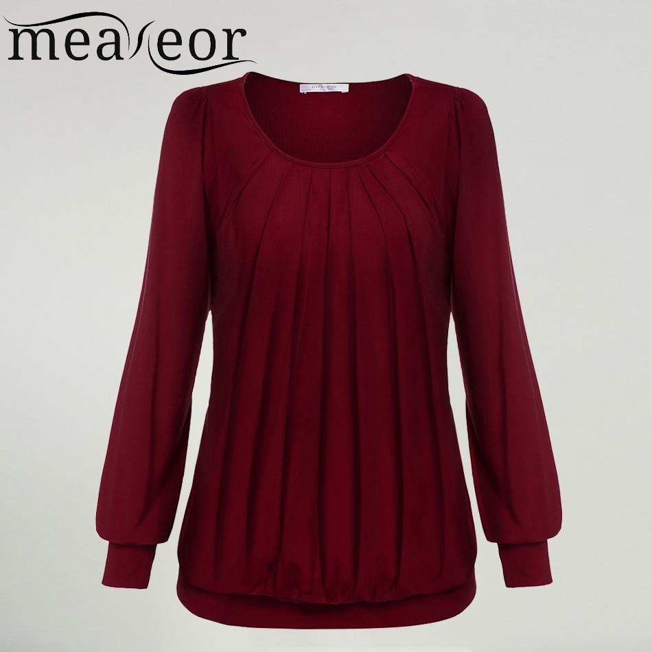 Meaneor Women Autumn Winter Long Sleeve Tops shirt Famale Scoop O ...