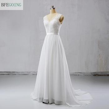 White Lace Chiffon Sleeveless V-Neck  Floor-Length A-line Wedding dresses  Court Train Bridal Gown Custom made