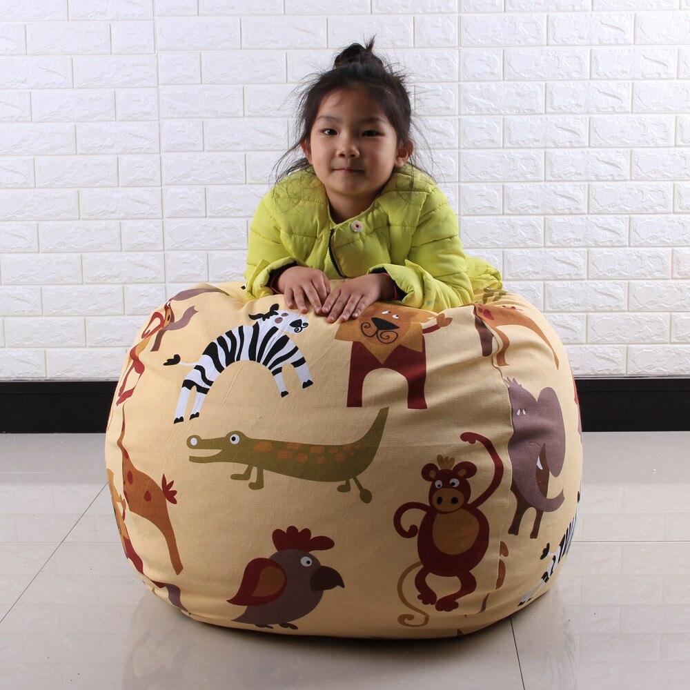 Openhartig Perfect Tegemoet Uw Pluche Multicolor Kids Knuffel Pluche Speelgoed Opslag Bean Bag Soft Pouch Streep Stof Stoel