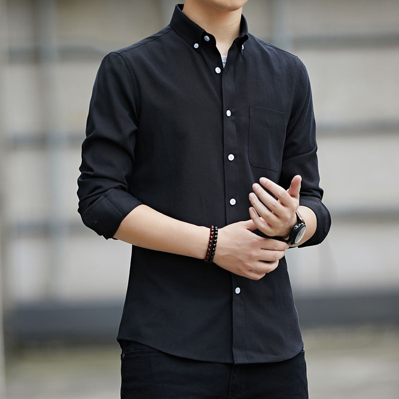 High-quality long-sleeved shirts for men's leisure Korean version of young and middle-aged Oxford white shirts in spring 4