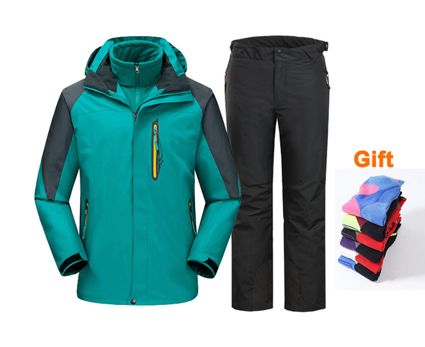 Men amp Women 39 s Winter windbreaker Hiking Suit Waterproof Outerwear Sport Hoodied Camping Trekking warm Male amp Femail Coats and Pant in Hiking Jackets from Sports amp Entertainment