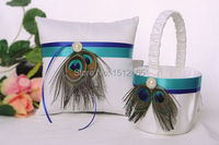 set of 2p Peacock Feather White Satin Wedding Flower Girl Basket and Ring Pillow Set Wedding christmas Favors WS14