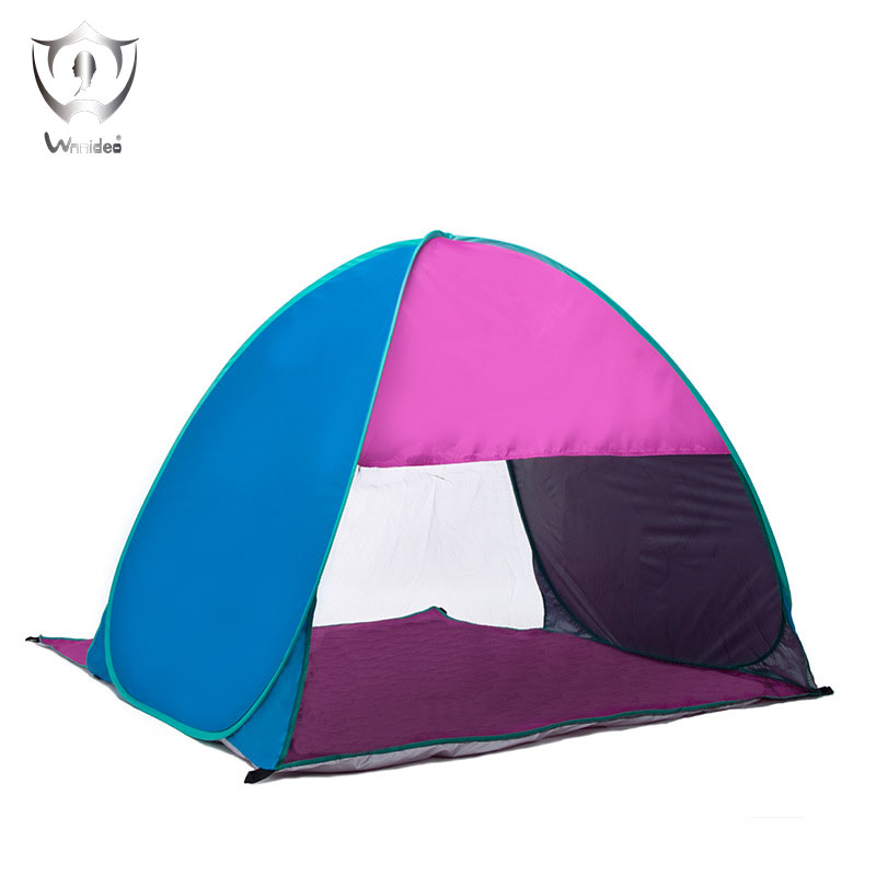 Wnnideo Outdoor UV Protection Pop-up Beach traveling Tent 3-4 Person Fishing Tents Purple&Blue