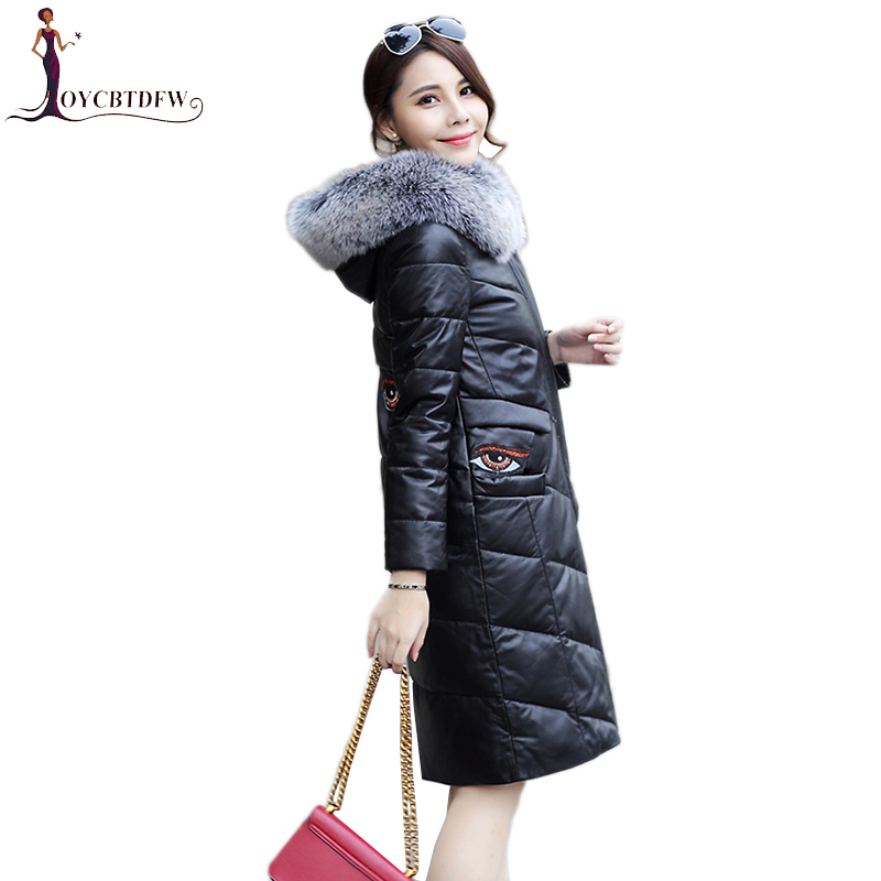 Winter PU Leather Jacket Female Large Size parkas 2018 New Women Coat Korean Elegant Big Fur Collar Hooded Outerwear coats XY414