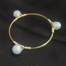 Western Style Women 100% Natural 13MM Quartz Gold Copper Wire Wrapped Bangle Jewelry Bracelets
