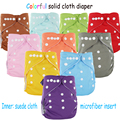 Free shipping one size fits all pure solid color reusable baby pocket cloth diaper nappy with microfiber insert