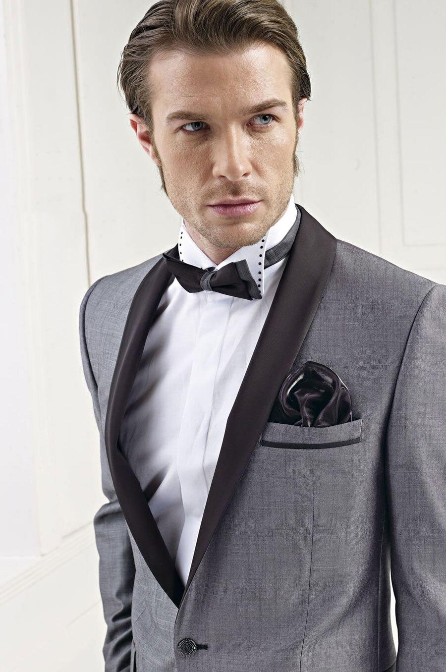 Latest Coat Pant Designs Grey Shawl Lapel Men Suit Formal Slim Fit ...