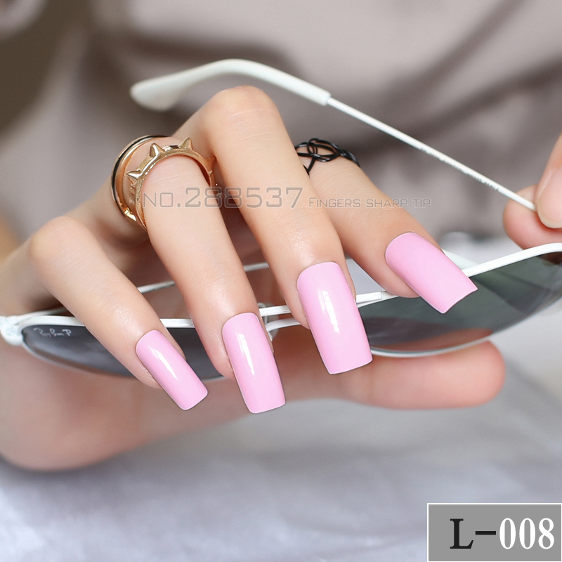 New fashion Super Long lovely Pink Square head Candy solid color Full Wrap for Simple Lady Acrylic Art False nails 20pcs L-008