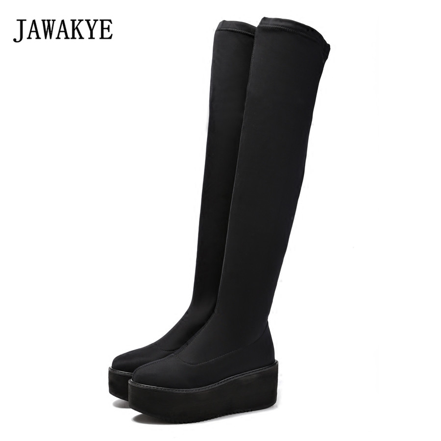 2017 New Black Stretch Platform Thigh high boots Women Round toe Smooth elastic cloth real Suede wedge heel Over the knee boots black stretch fabric suede over the knee open toe knit boots cut out heel thigh high boots in beige knit elastic sock long boots