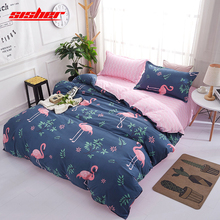 Sisher 3D Printing flamingo Duvet Cover set Cartoon with Pillowcase Single Double Queen king Size Comforter