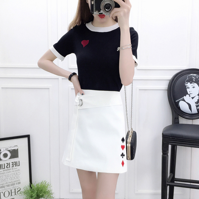 6cb0c7fa2 2018 summer knitting top sweater students poker embroidered skirts ...