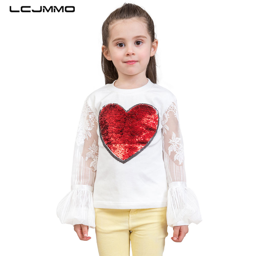 716307740 LCJMMO 3 10Y Fashion Style Sequins Girls T Shirts Summer 2018 New ...