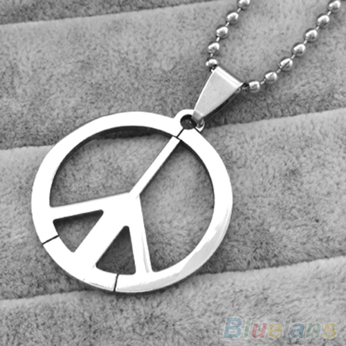 Men Stainless Steel Peace Sign Symbol Pendant Chain Charm Long Necklace 4POA