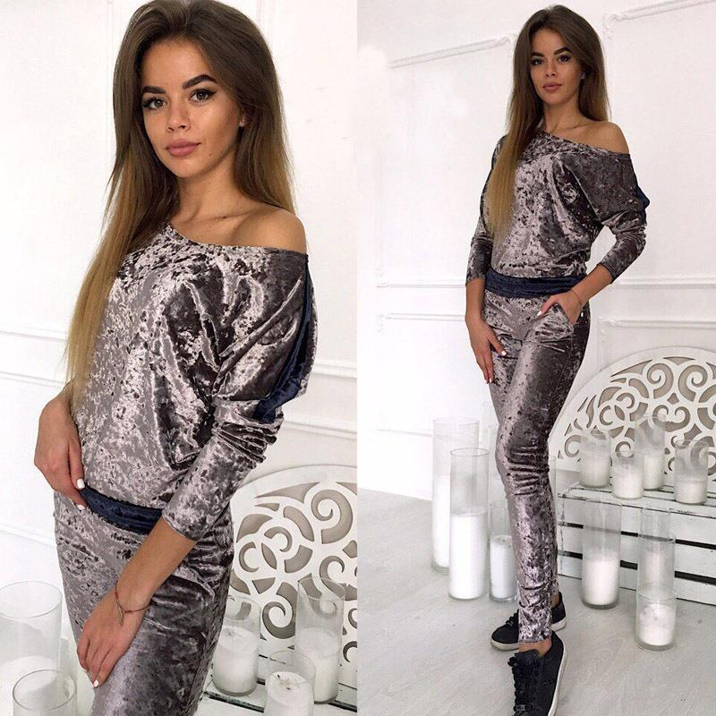 Velvet Tracksuit Women Two Piece Set Winter Casual Hoodies Top + Pants Ladies Long Sleeve Outfit Femme Sporting Suits WS4557V