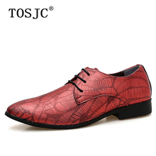 цена TOSJC Men Casual Oxfords Lace Up Exquisite Leather Loafers for Men Wedding Male Pointed Toe Driving Shoes Red/blue Dress Shoes онлайн в 2017 году